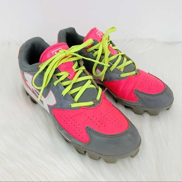 Under Armour Softball Cleats Pink Gray